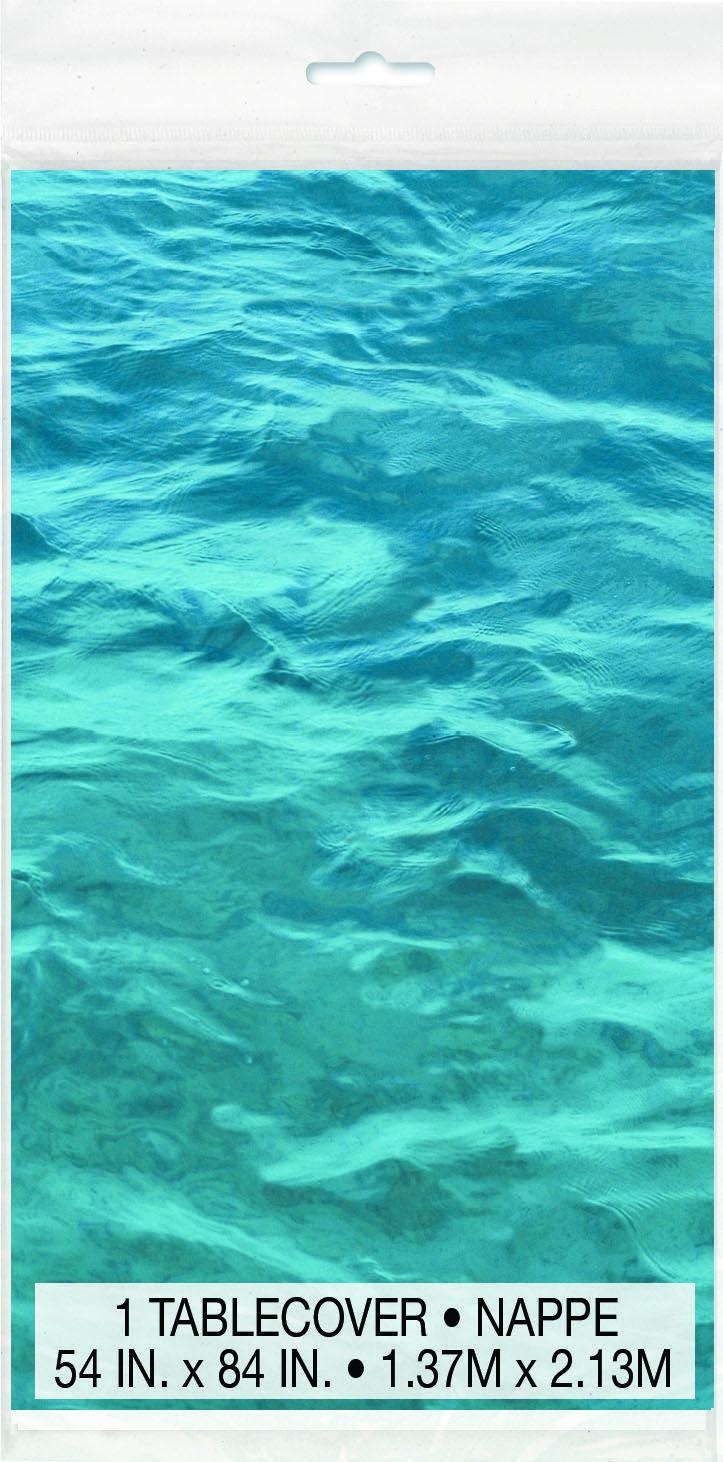 Ocean Waves Plastic Table Cover 54in x 84in