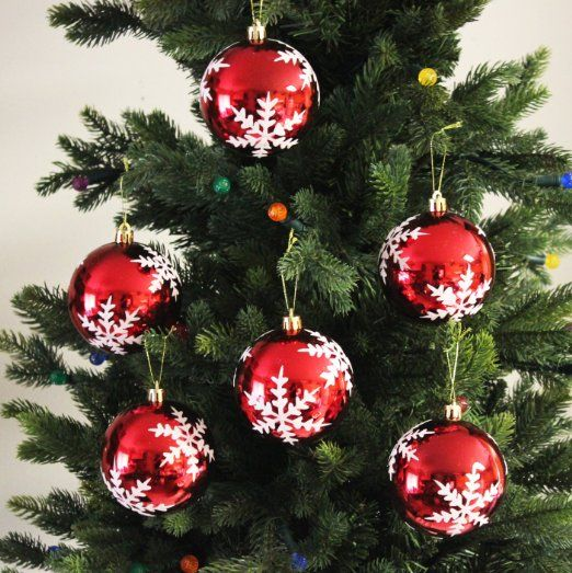 Snowflake Shatterproof 3 15 Quot 80mm Christmas Ball Ornaments Decorations Set Of 6 Wit Christmas Decorations Ornaments Christmas Ornaments Xmas Ornaments