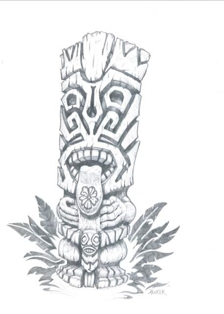 Wooden Tiki Head Drawing 5514x4604b1dc.jpg (458...