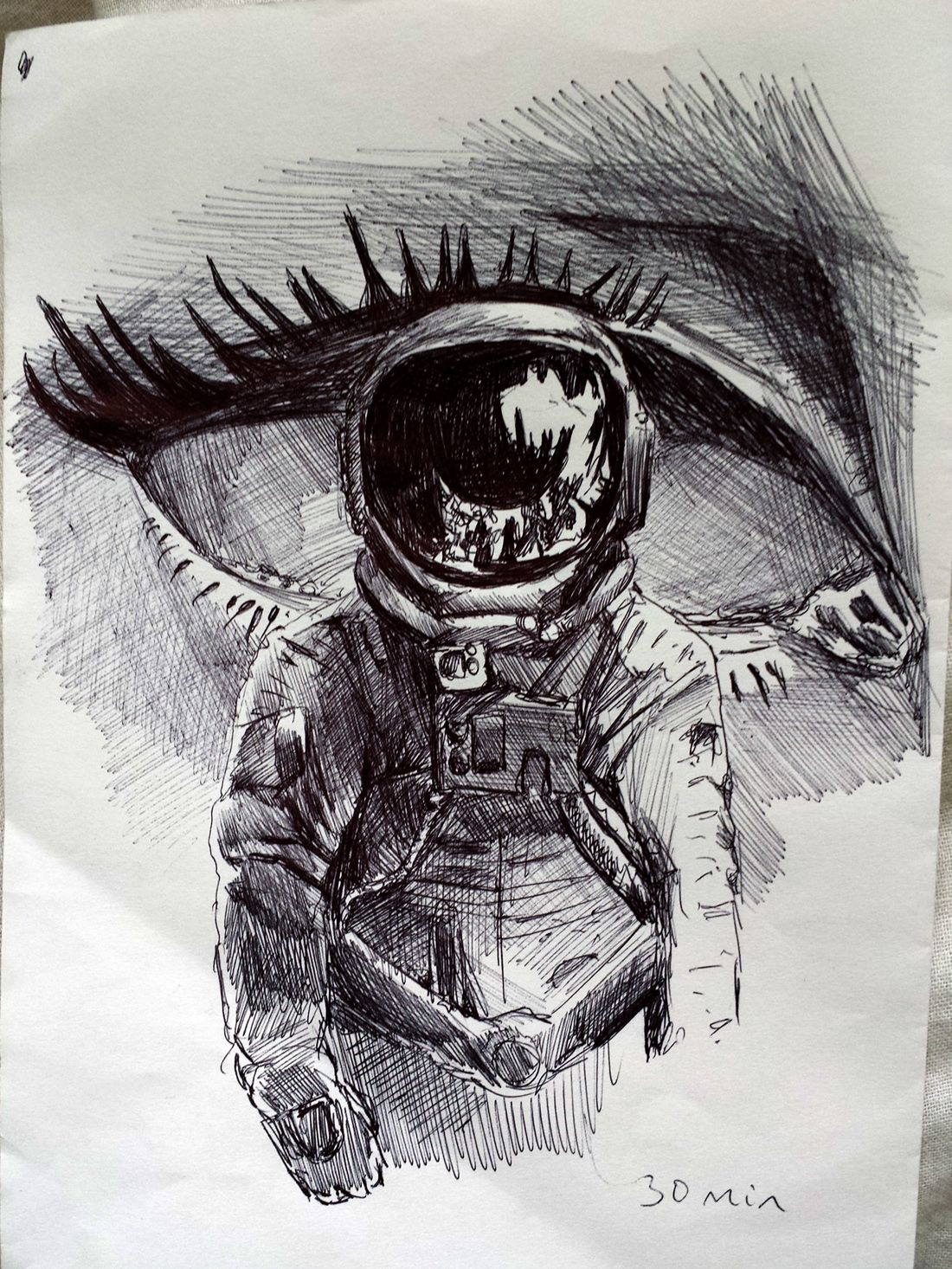 Hipster Art. Astronuta Ojo Lapiz. Dibujo Creativo Inspiracion Surrealismo Art