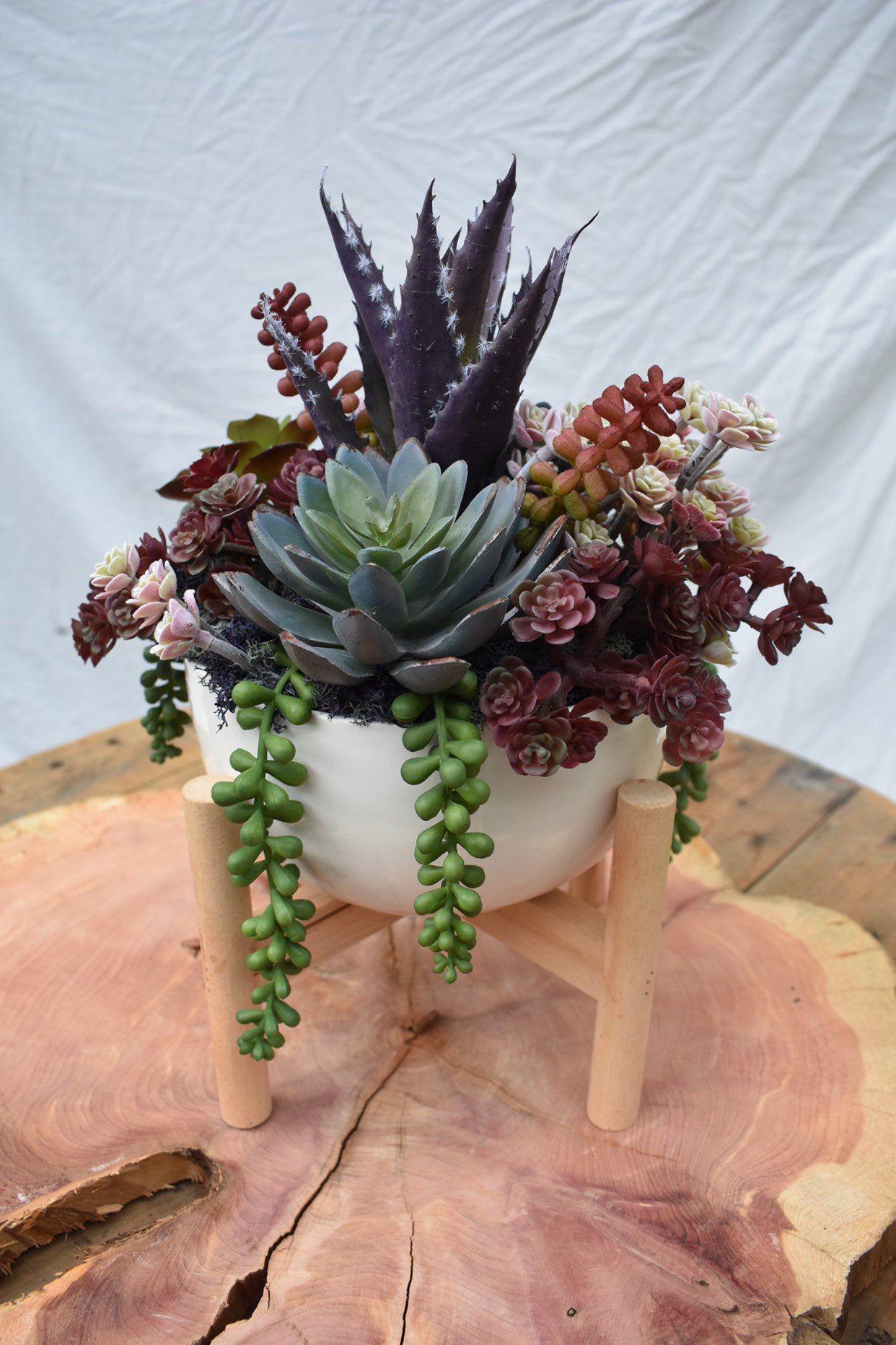 Faux succulent arrangement artificial modern vase