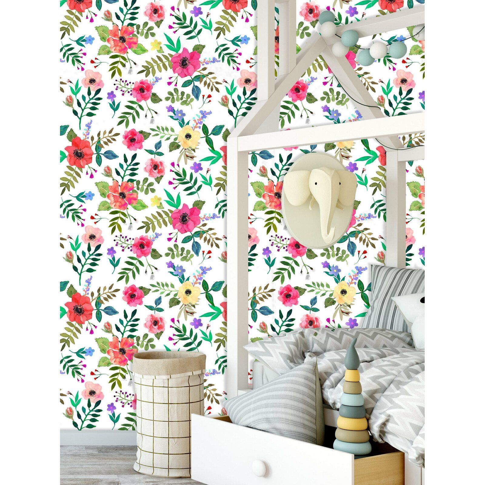 "Koret Removable Nursery Lovely Flowers 4.17' L x 25"" W"