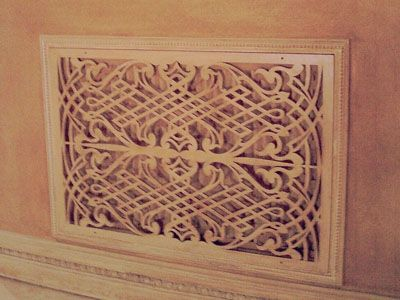 Custom pattern wood vent cover grille.
