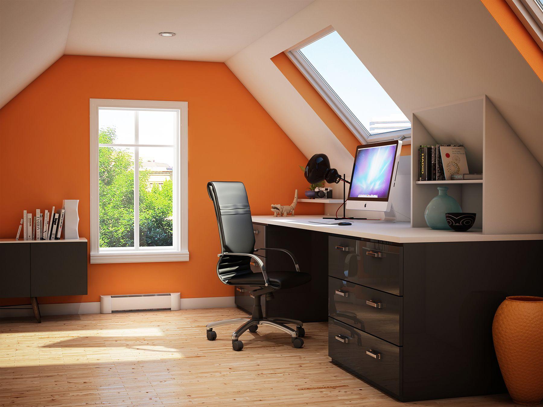Bureau à la maison, meubles modernes. Workplace at home, modern ...