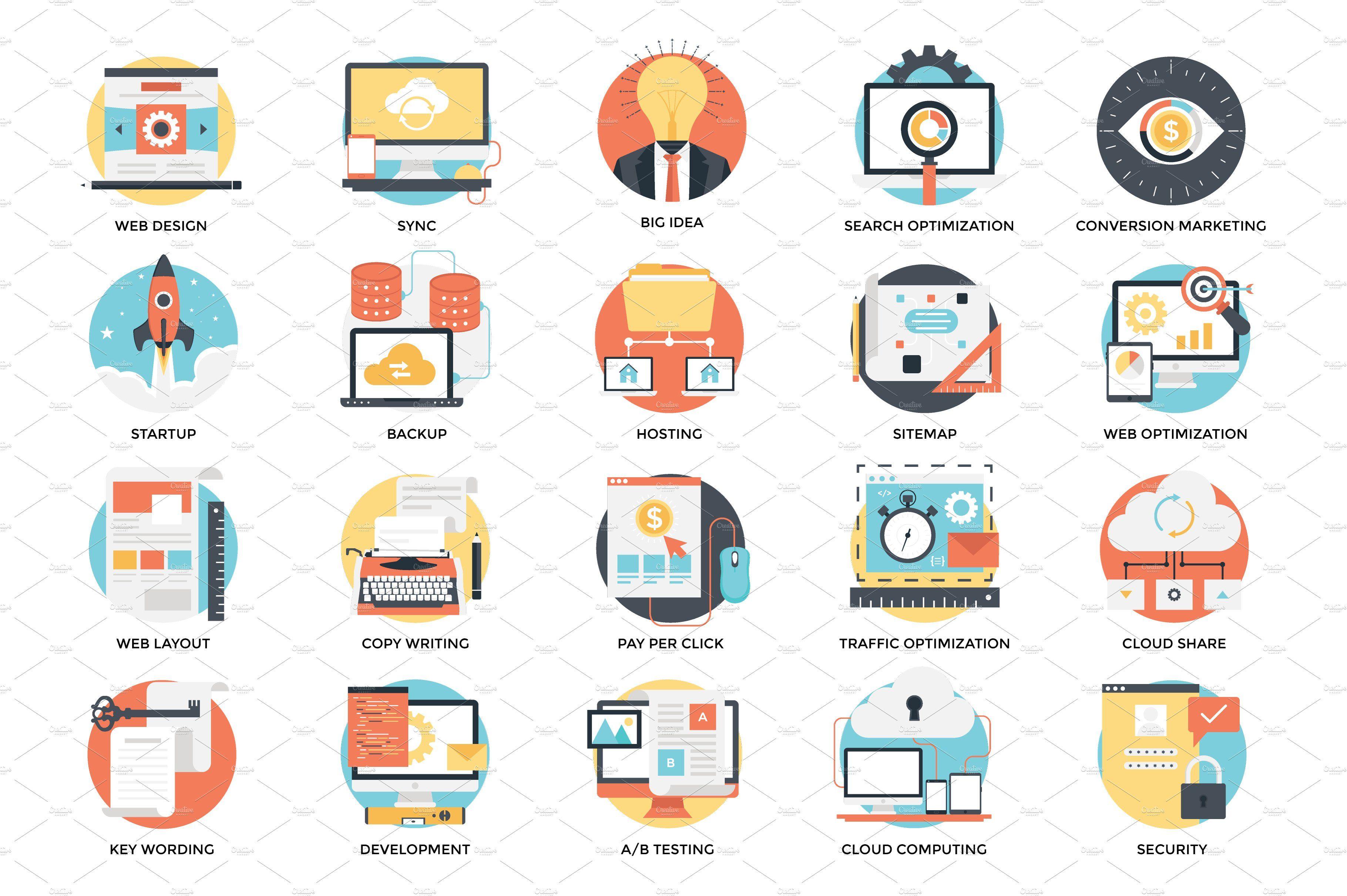 Flat Web Design And Development Icon Web Development Design Flat Web Design Web Design