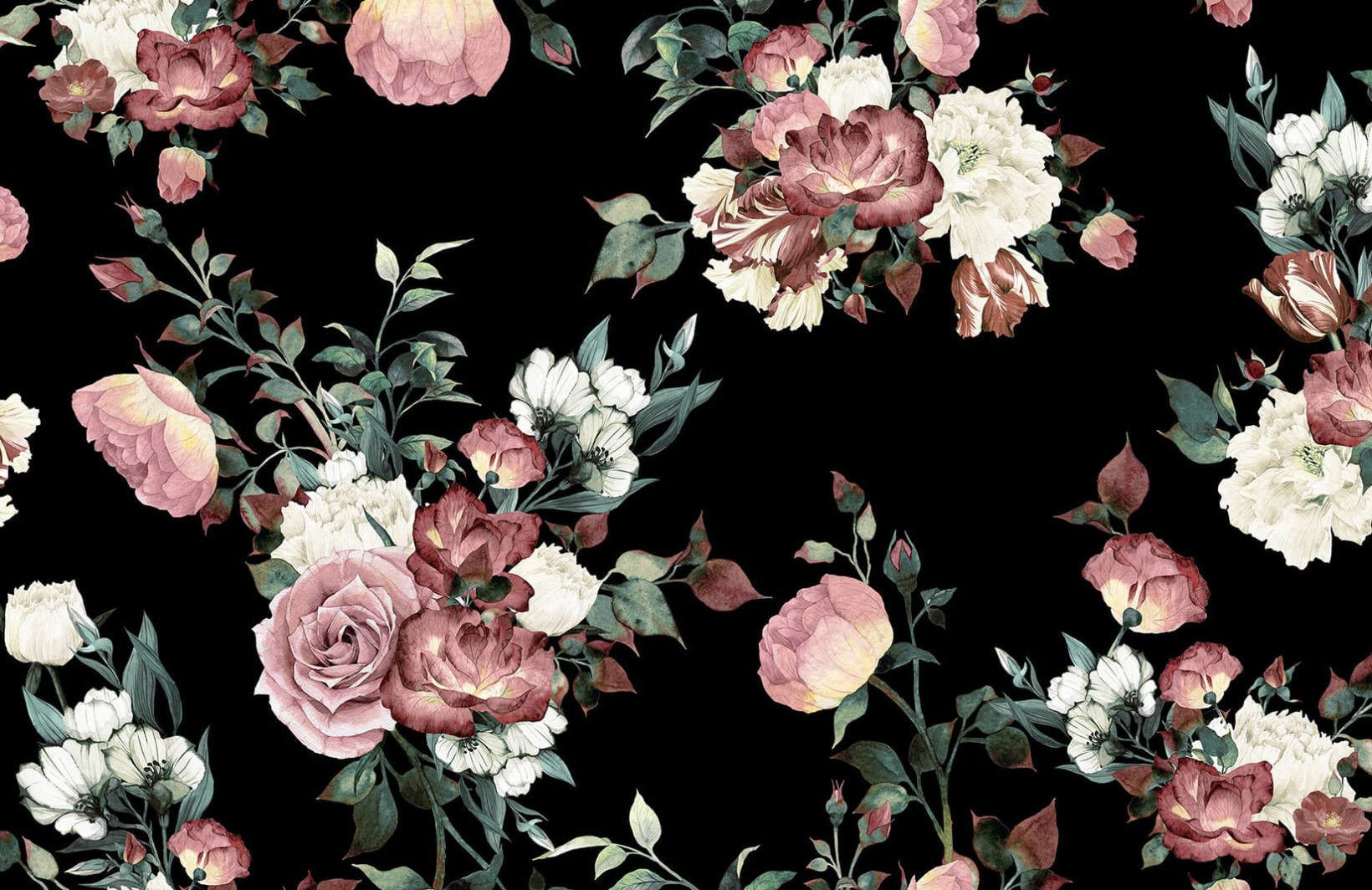 Vintage Pink and Cream Dark Floral Wall Mural Vintage