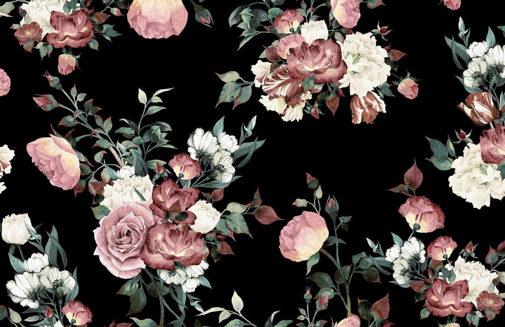 Vintage Pink And Cream Dark Floral Plain Vintage Flowers Wallpaper Black Floral Wallpaper Vintage Floral Wallpapers