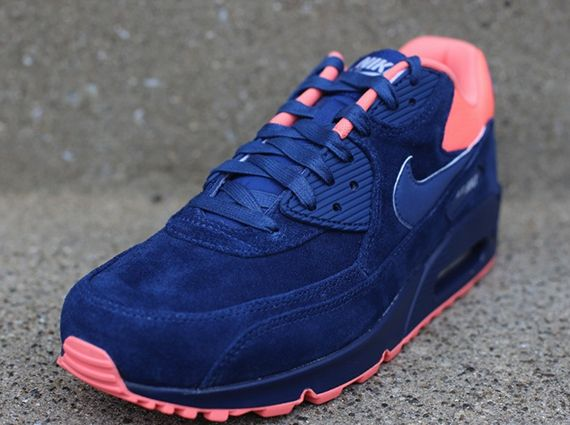 ike Air Max 90 Premium- Brave Blue  Atomic Pink
