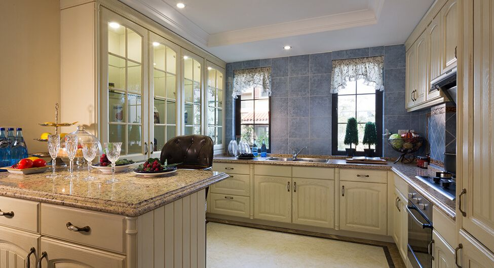 Luxury Villas Overall European Kitchen Cabinet Design Image Manufacturers