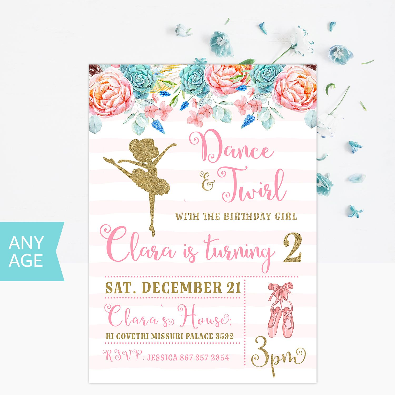 Ballerina Birthday Invitation, Princess Birthday Invitation ...
