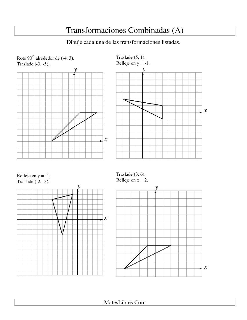 Transformaciones Combinadas en Dos Pasos (A) | Nuevas Hojas de ...