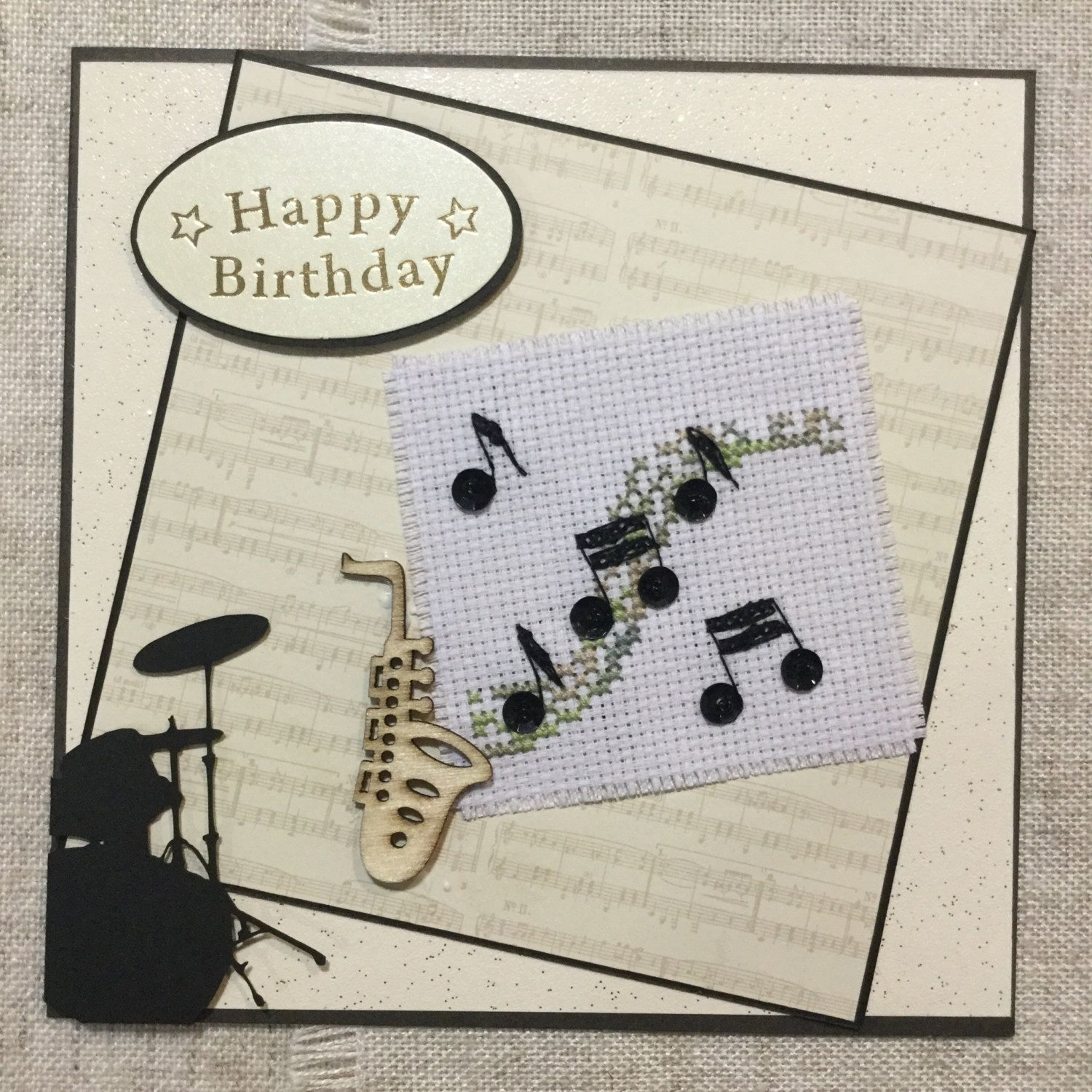 Musical Birthday Card Handmade Cards For Him Cross Stitch Music Lovers By BunnybearDesignsUK On Etsy