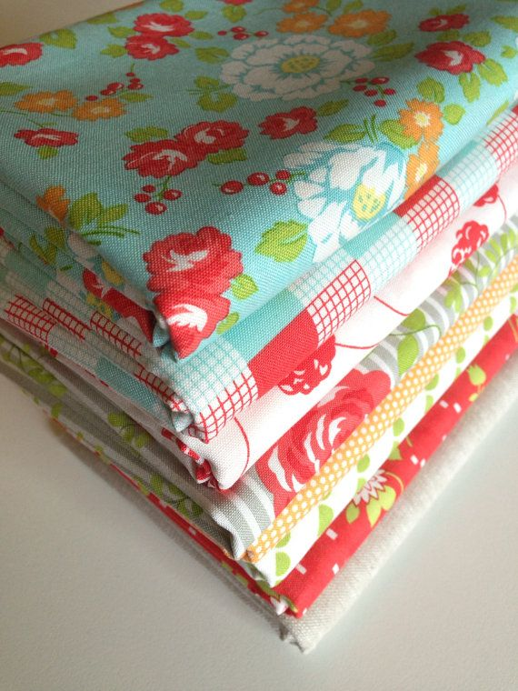 Happy Go Lucky Fabric bundle by Bonnie and Camille for Moda Fabrics- 1/2 Yard Bundle- 8 total on Etsy, $40.00