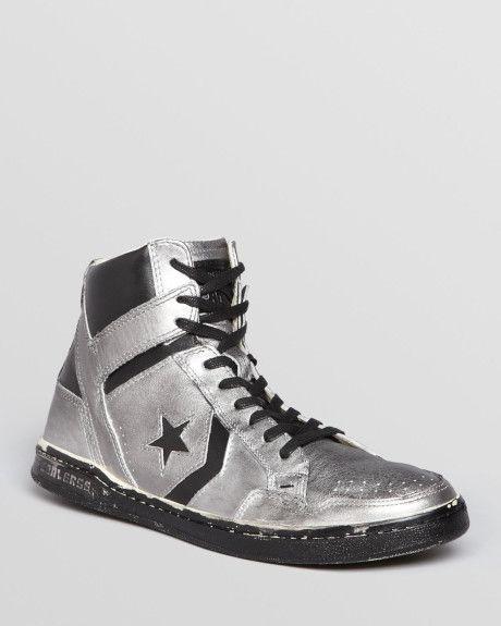 Converse By John Varvatos - Sneakers - Men - John Varvatos High-Top Metallic Silver Leather for men