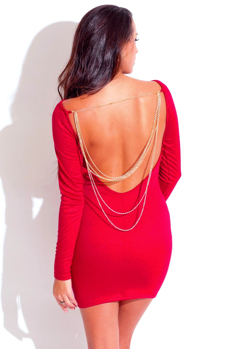 Foreign Accent - lipstick red long sleeve backless bejeweled ...