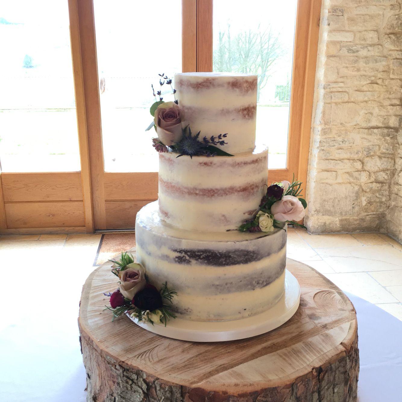 Semi Naked Cake With Fresh Flowers At Kingscote Barn