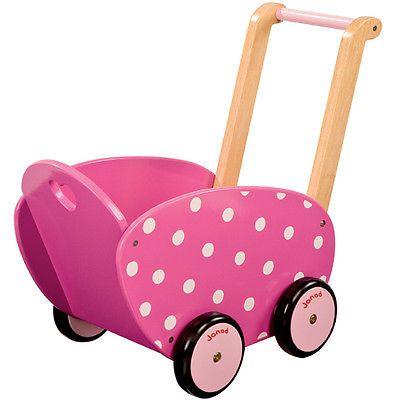 süsser janod puppenwagen lauflernwagen pink mit weißen punkten,
