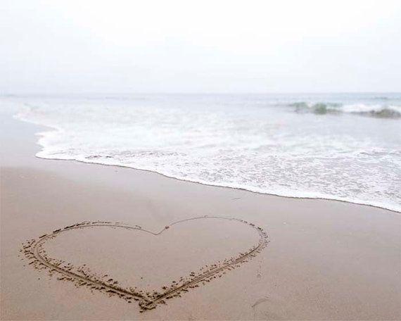 Love Heart on the beach photograph Grey Foggy Beach by BreeMadden