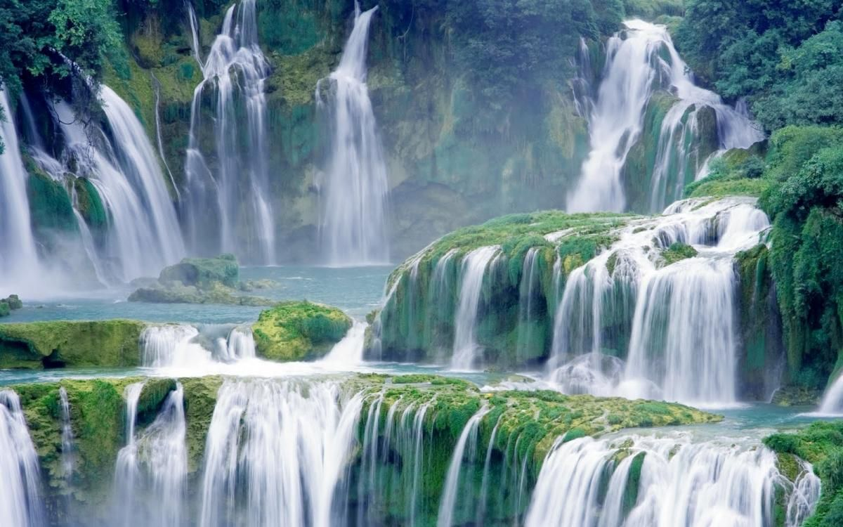 The Majestic Baeuty Of Ban Gioc Waterfall Waterfall Wallpaper Waterfall Beautiful Waterfalls