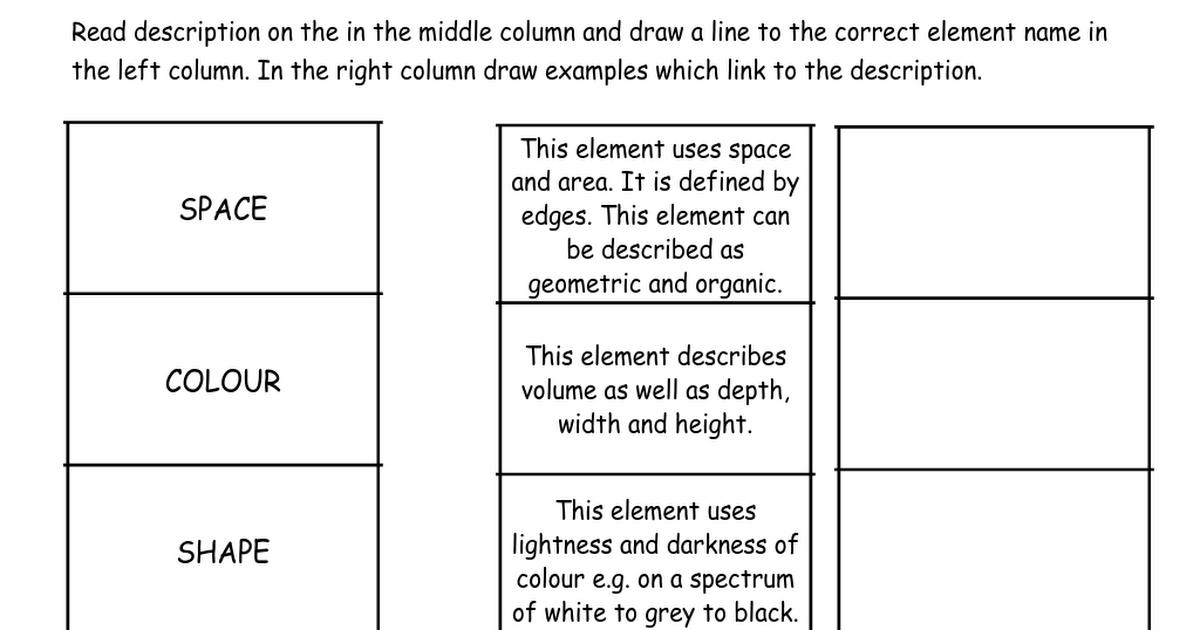 Worksheet Elements Art Matchcx art critique