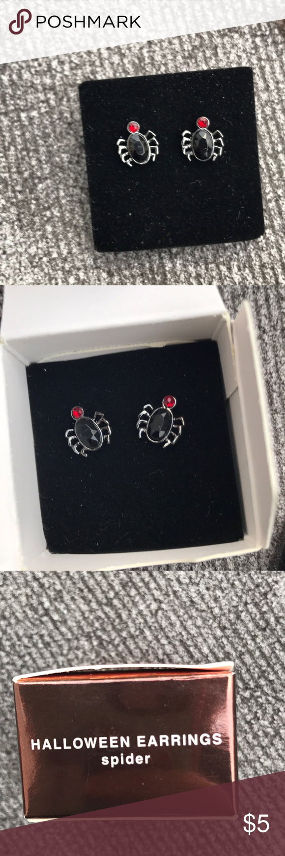 Small Spider Earrings From the Halloween collection a small pair of spider earrings. Has a little red gem for the head. Perfect to top off a spooky outfit. Happy Poshing!  Small Spider Earrings From the Halloween collection a small pair of spider earrings. Has a little red gem for the head. Perfect to top off a spooky outfit. Happy Poshing! #spookyoutfits