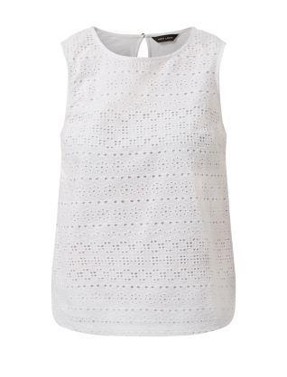 06070d8a51a9e1 White Cotton Crochet Front Sleeveless Top