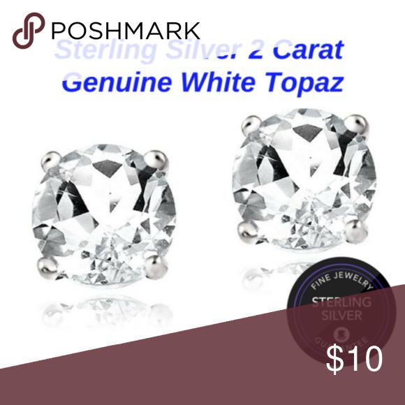 2 Ct White Topaz Stud Earrings Brand New