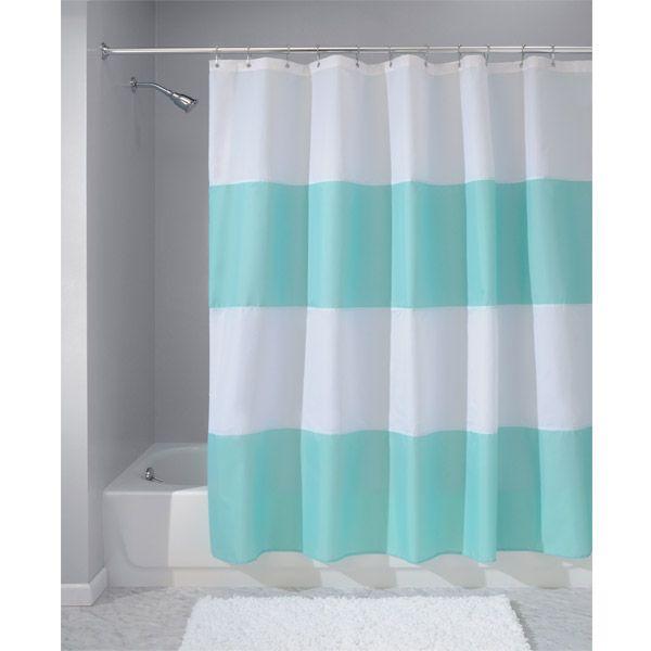 Zeno Aqua Blue Striped Shower Curtain By Interdesign