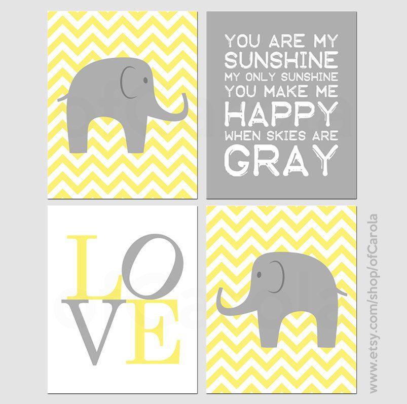 Kids Nursery Elephant Wall Art Print Set FOUR, Personalized You Are ...