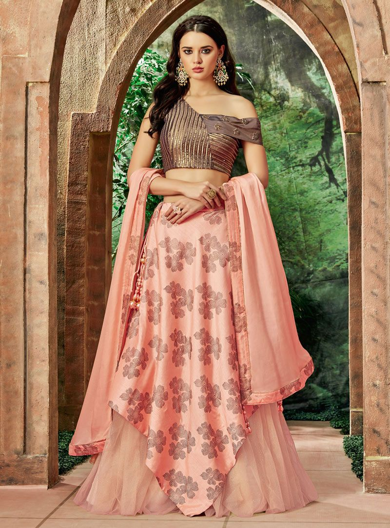 db6a243205 Buy Peach Silk Designer Lehenga Choli 146944 online at best price from vast  collection of Lehenga Choli and Chaniya Choli at Indianclothstore.com.