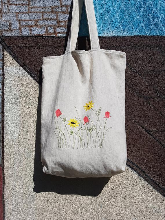 a43829f2523 Wildflowers reusable grocery bag embroidery gift Mothers day gift ...