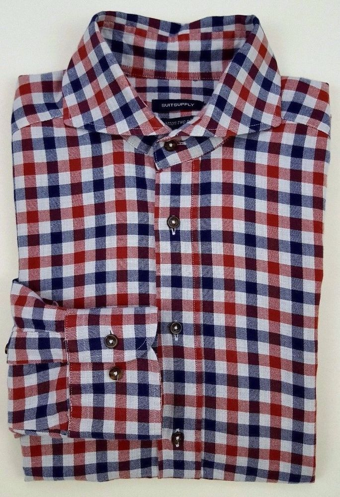 1f50b31a1b03 SUITSUPPLY Gingham SHIRT 37 14 1 2 Mens MULTICOLOR Checked RED Blue SIZE  Cotton   Suitsupply  2Ply