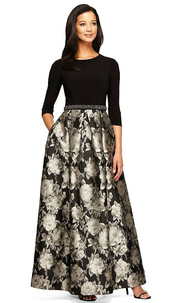 2a7e4ef47a Black Long Sleeve Evening Gown with Printed Skirt
