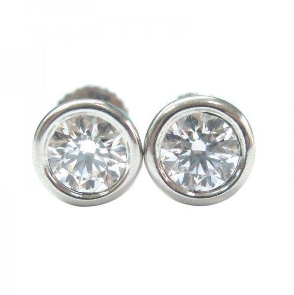 bb3b9ce76 Tiffany & Co. Platinum Elsa Peretti Bezel Diamond Earrings   First ...