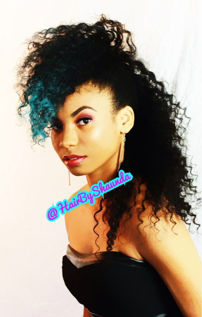 Hair By Shaunda Wild Mohawk Curly Mohawk Style Long Hair Natural Hair Turquoise Hair Salon Cass Milwaukee Hair Curly Mohawk Mohawk Styles Turquoise Hair