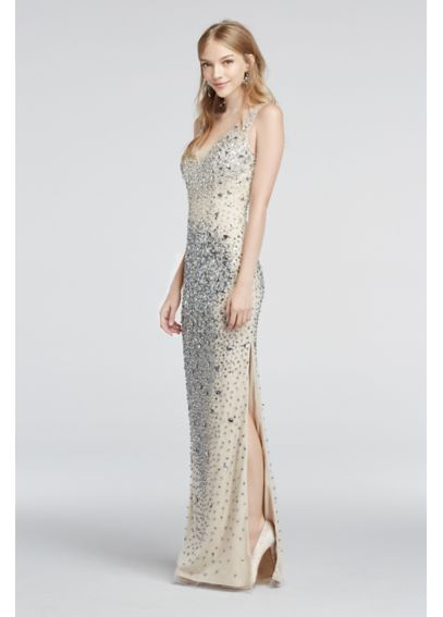 Crystal Bead Encrusted Illusion V-Neck Prom Dress 1360 | PROMising ...