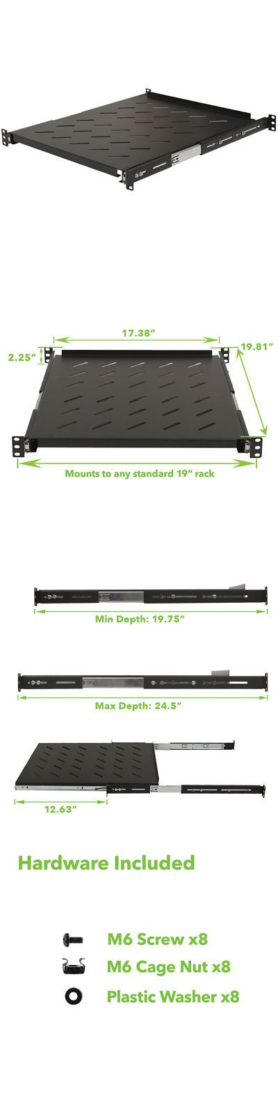Rackmount Cabinets And Frames 51199 Sliding Rack Vented Server Shelf 1u 19 4 Post Rack Mount Adjustable 20 Wall Mount Rack Server Rack Open Frame