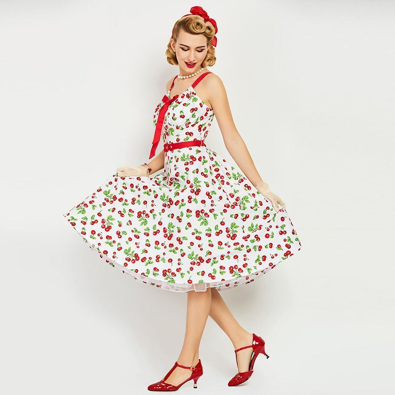 4dcdc8ebc9d vintage 1950s dress white floral print retro cherry summer rockabilly spaghetti  strap party elegant vintage dress