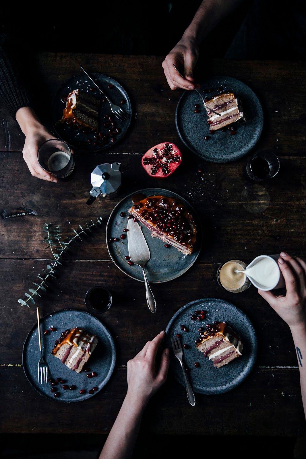 banana-pomegranate-caramel cake