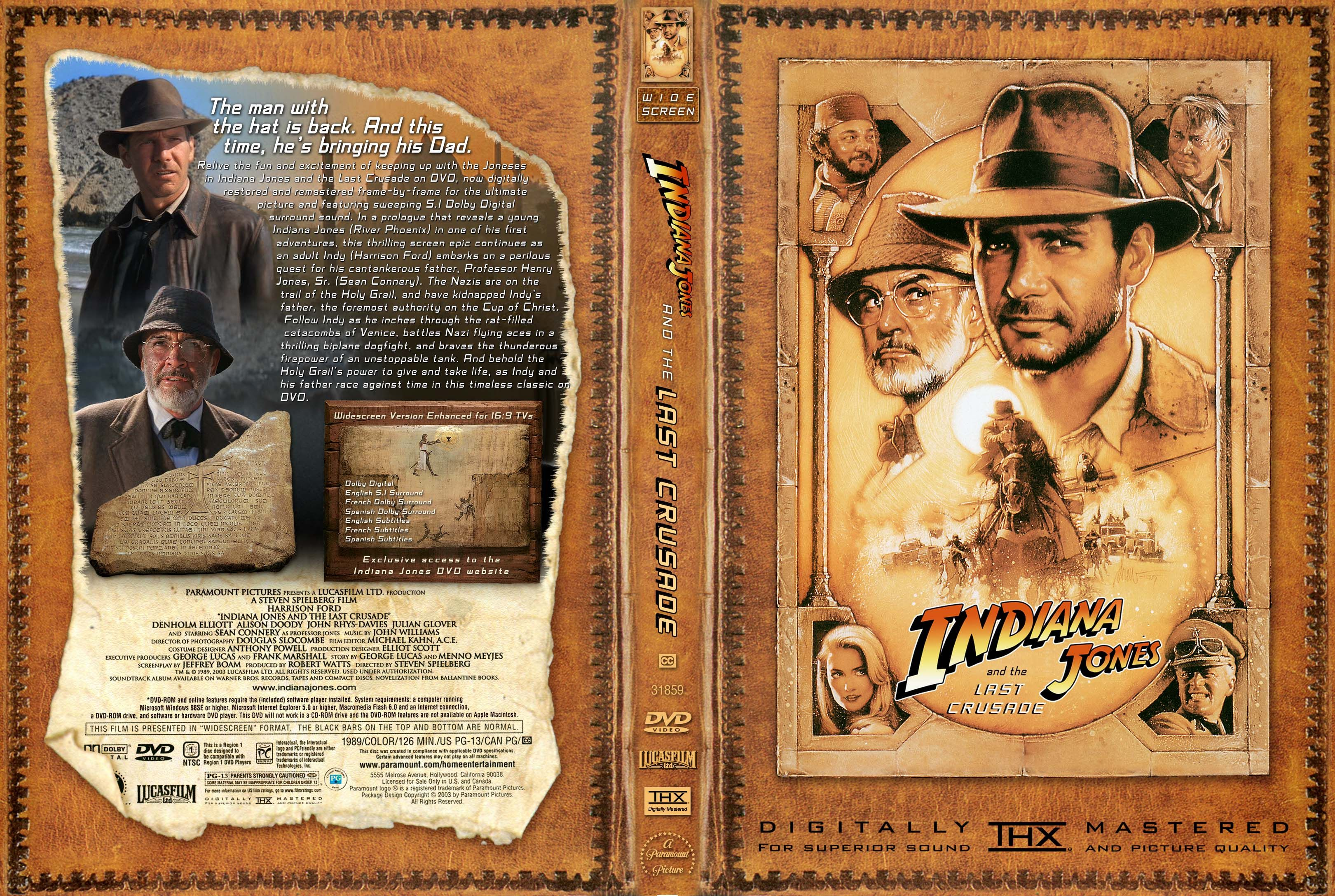 Indiana Jones And The Last Crusade Dvd Front Cover Indiana Jones Dvd Covers Indiana