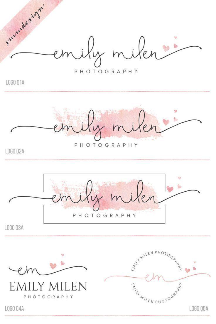 kit de marque premade  logo coeur et filigrane  logo photographie  logo de script
