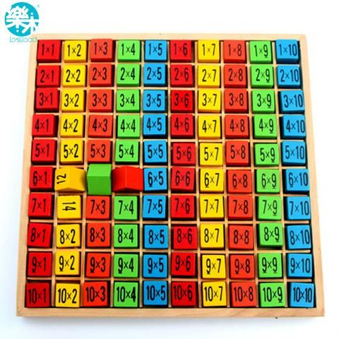 Baby wooden Toys 99 Multiplication Table Math Toy 10*10 Figure Blocks Baby  learn  Educational montessori gifts free shipping - KIDKRUSH