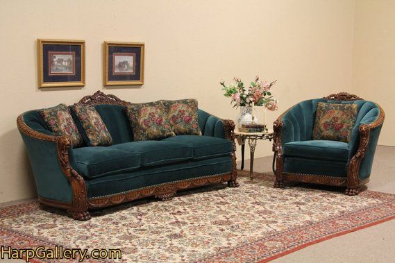 Enjoyable Carved Lion Antique 1930 Sofa And Chair Set Vintage Ncnpc Chair Design For Home Ncnpcorg