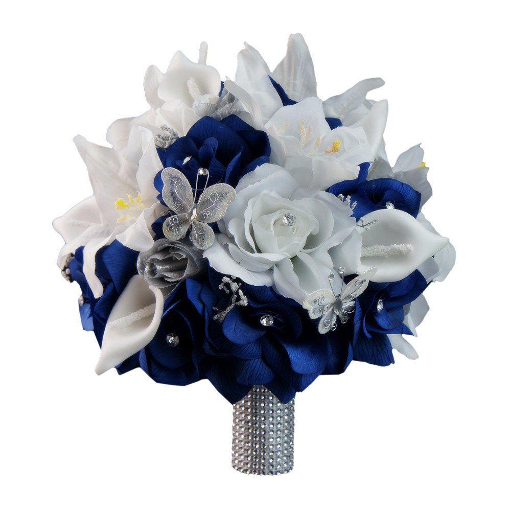 10 bridal bouquet deep royal blue silver silk flower bouquets 10 bridal bouquet royal blue white and silver silk flower bouquet mightylinksfo