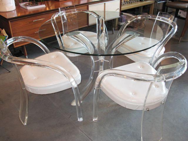 Vintage Lucite Furniture Lucite Glass Table Four Lucite