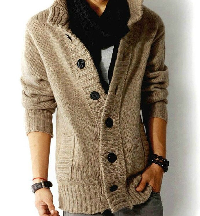 Men's knit cardigan sweater thick sweater coat Korean Slim line ...