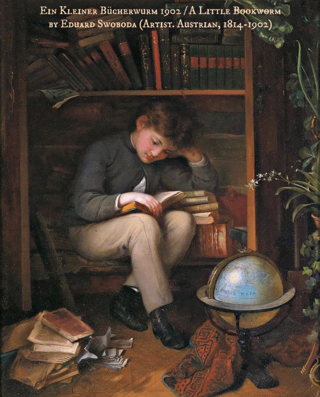 Ein Kleiner Bücherwurm / A Little Bookworm by Eduard SWOBODA (Artist. Austrian, 1814-1902). More on the artist:  http://de.wikipedia.org/wiki/Eduard_Swoboda ...  KEEP  artist attribution & link when repinning or reposting. Don't pin the image & erase the artist. Give credit where due. If you're fair, you care. See: http://pinterest.com/picturebooklove/how-to-pin-responsibly/  -pfb