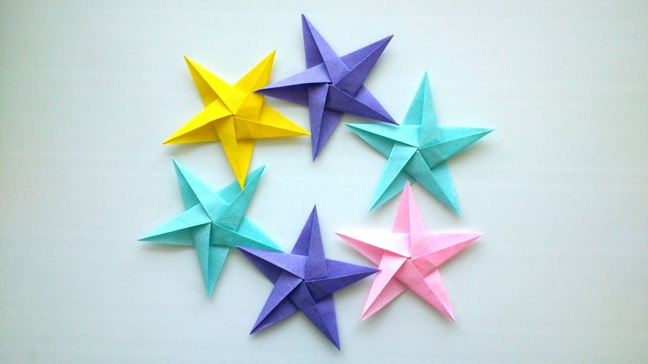 In This Video You Will See How To Make A Simple Origami Star Tutorial Is It Takes 10 Minutes Of Your Time Such Stars Can Decorate