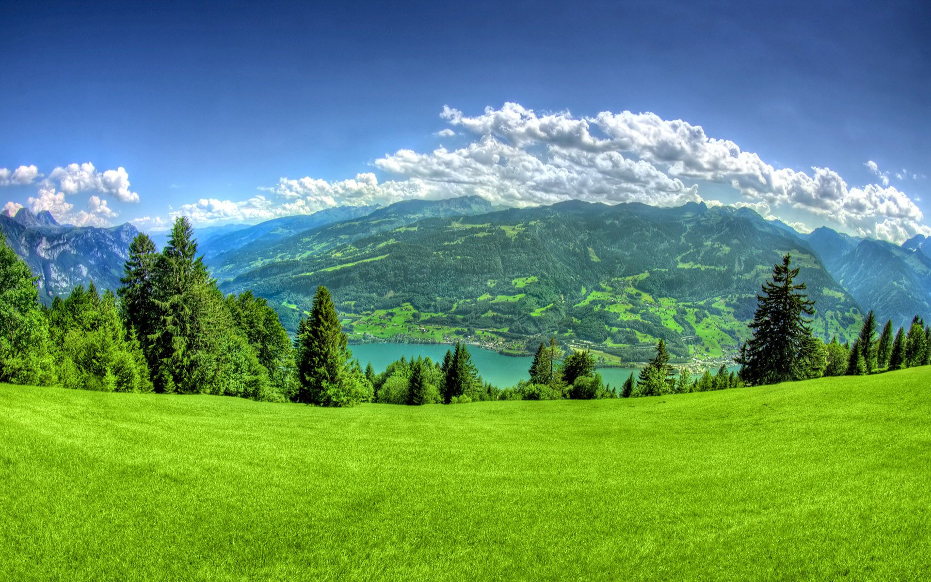 Green Grass And Mountain 1920x1200 Wallpapers 1920x1200 Beautiful Nature Wallpaper Beautiful Nature Summer Landscape