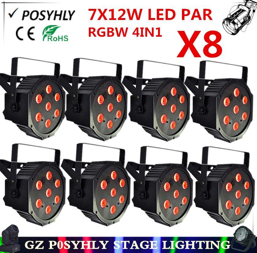 8 pcs 7X12 W led Par lumi¨res RGBW 4in1 plat par led dmx512 lumi¨res